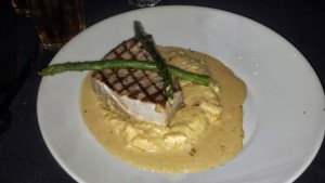 Grilled Swordfish with Creamy Cheese Grits and Lobster Gravy