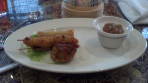 Chopstix Combination: Chicken Satay, Spring Rolls, Dumplings
