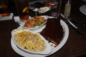 Ribs & Shrimp combo with macaroni and cheese