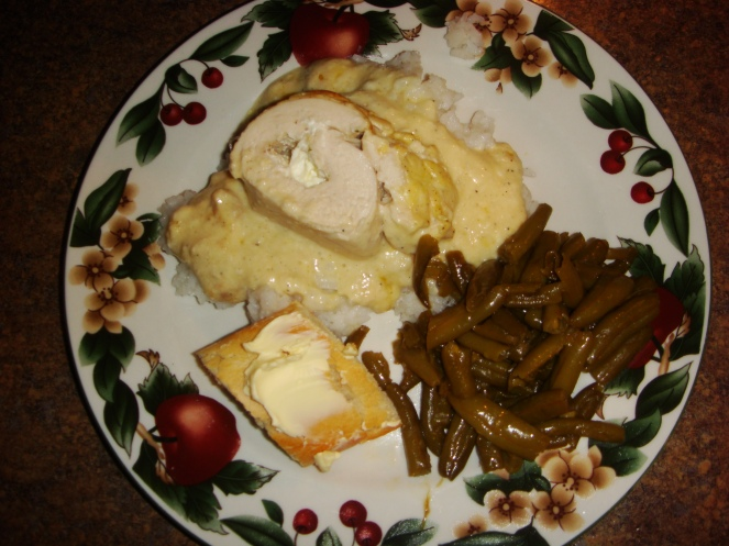 Specialty Chicken over rice, green beans and bread with butter.  Yums!